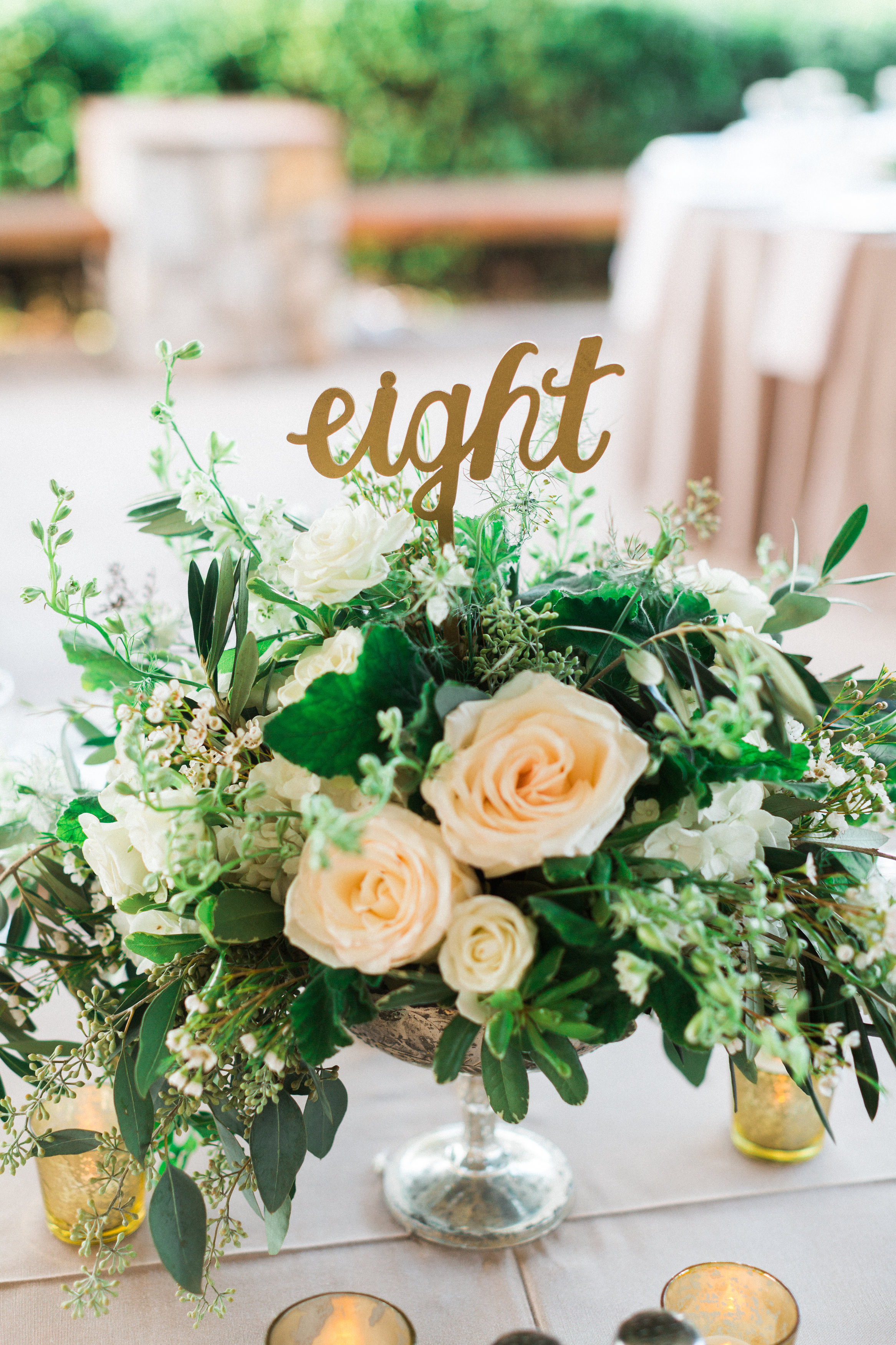 Mercury Glass Centerpiece With Laser Cut Table Number Bouquets Of Austin