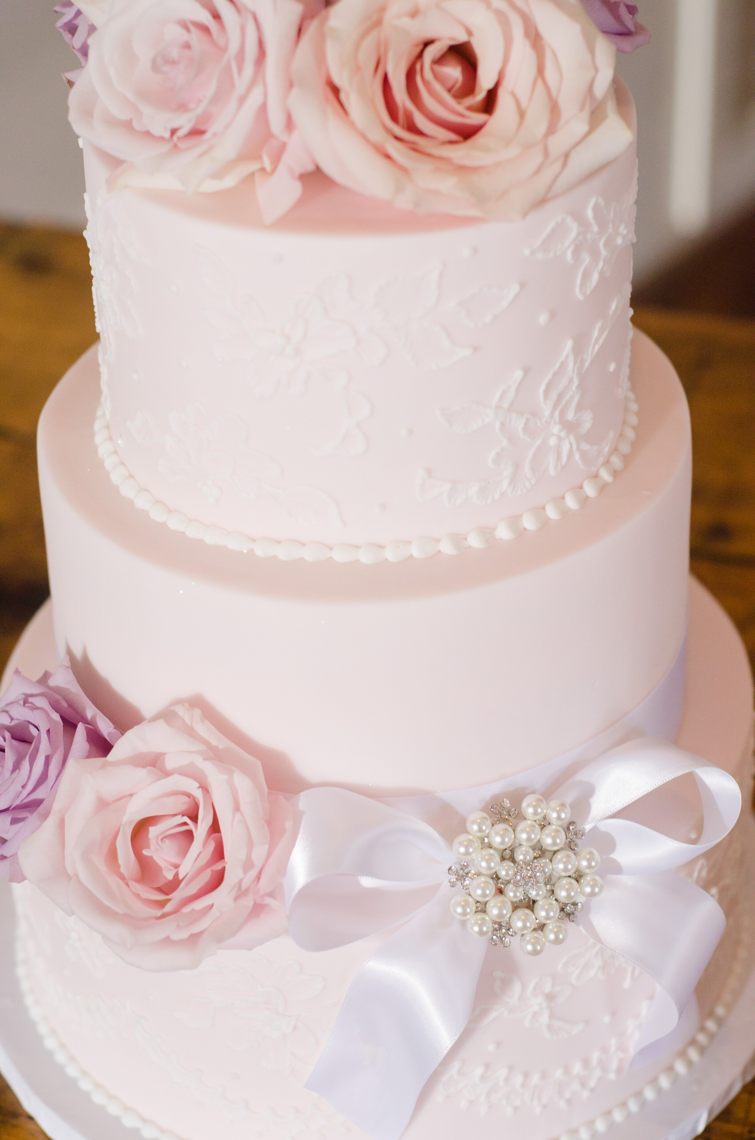 Wedding cake with ribbon accents