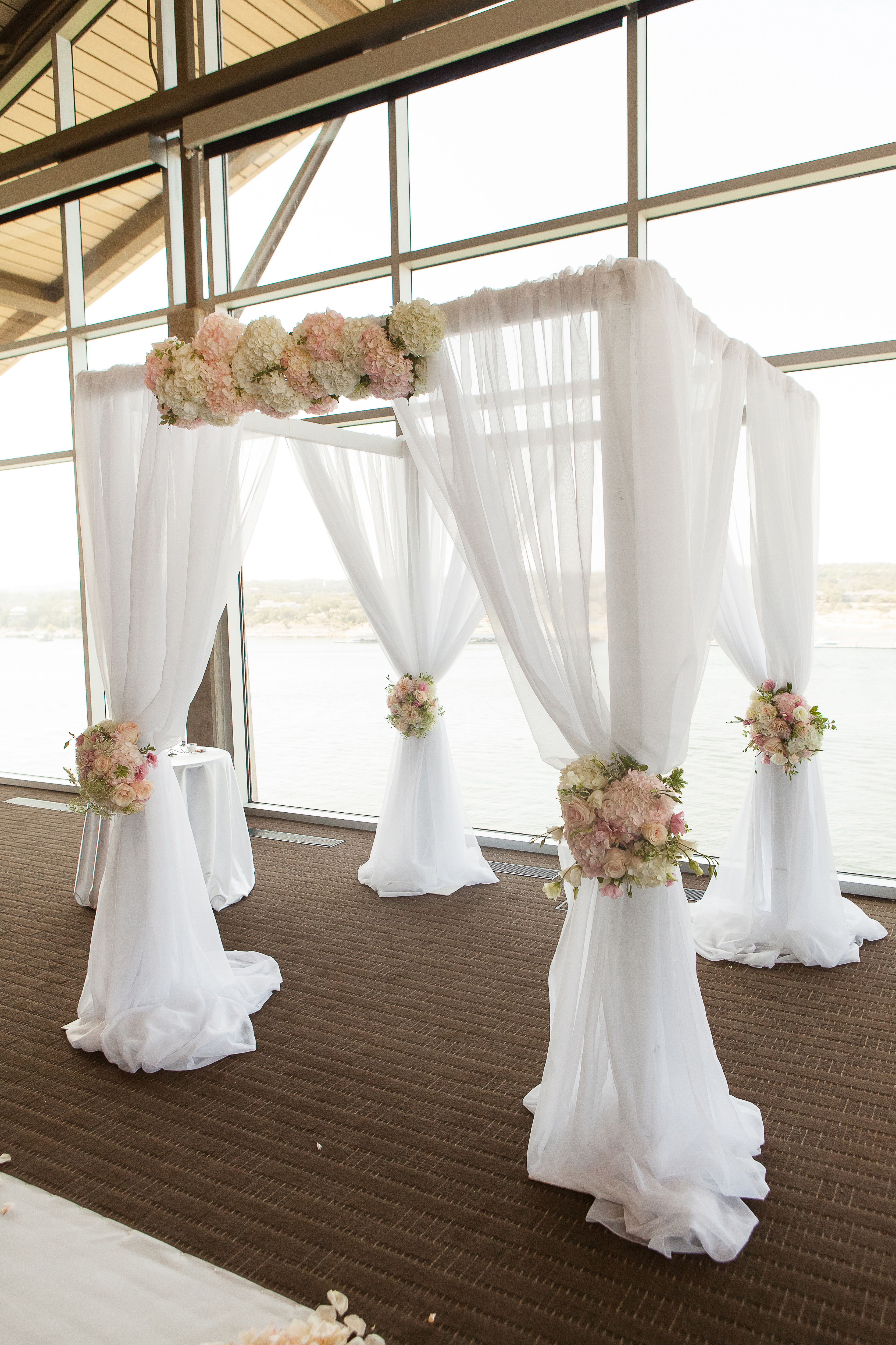... 3333 × 5000 in White draped canopy for indoor ceremony. & White draped canopy for indoor ceremony. | Bouquets of Austin