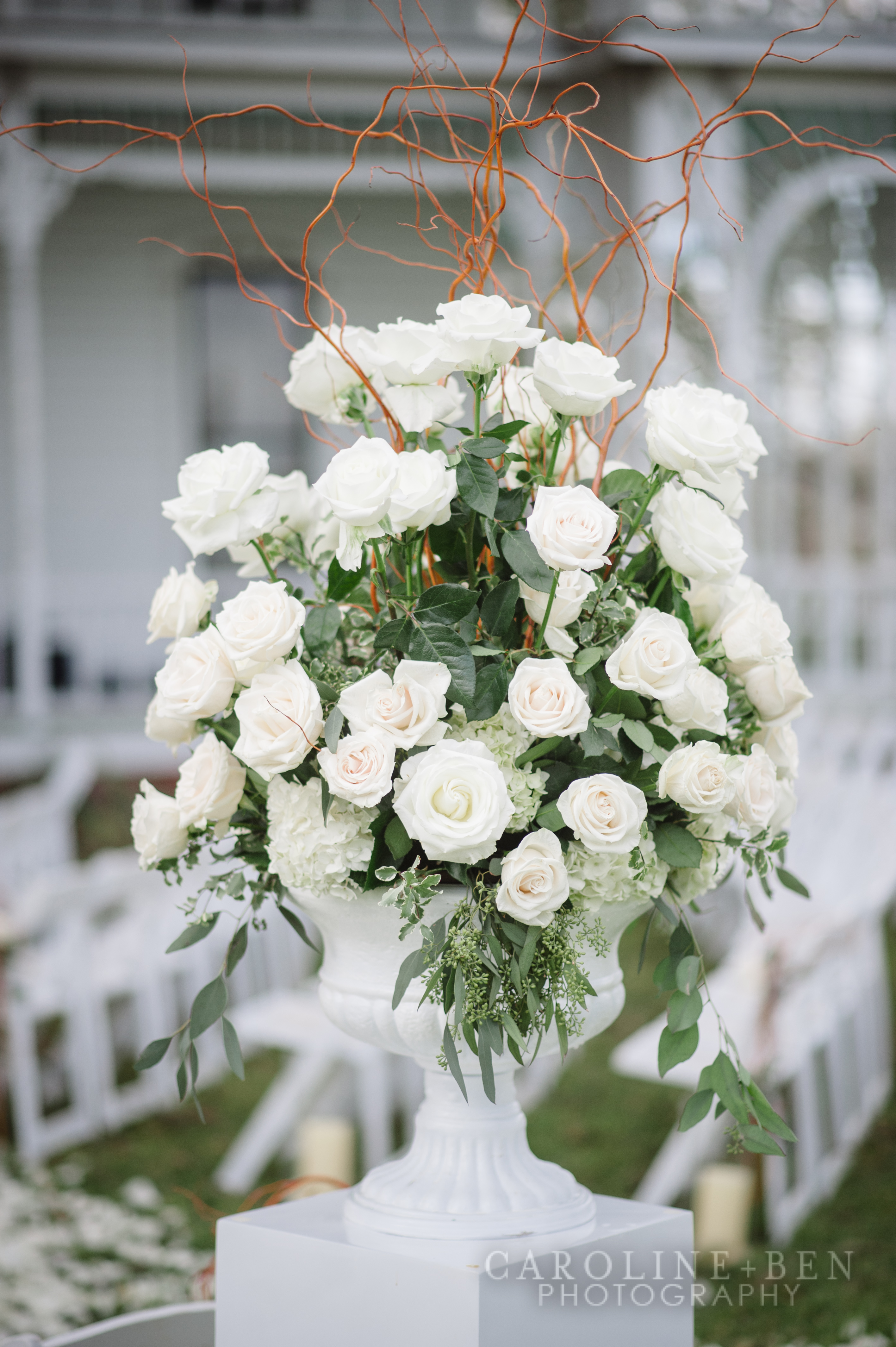 Lush roses for the aisle entrance.