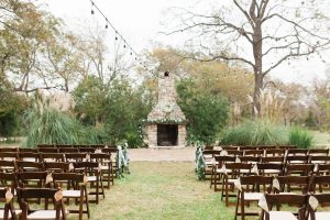 Outdoor ceremony at Pecan Springs Ranch fireplace