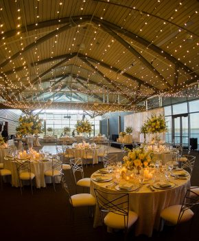 Traditional ballroom with twinkle lights and white flowers at Lakeway Resort and Spa.