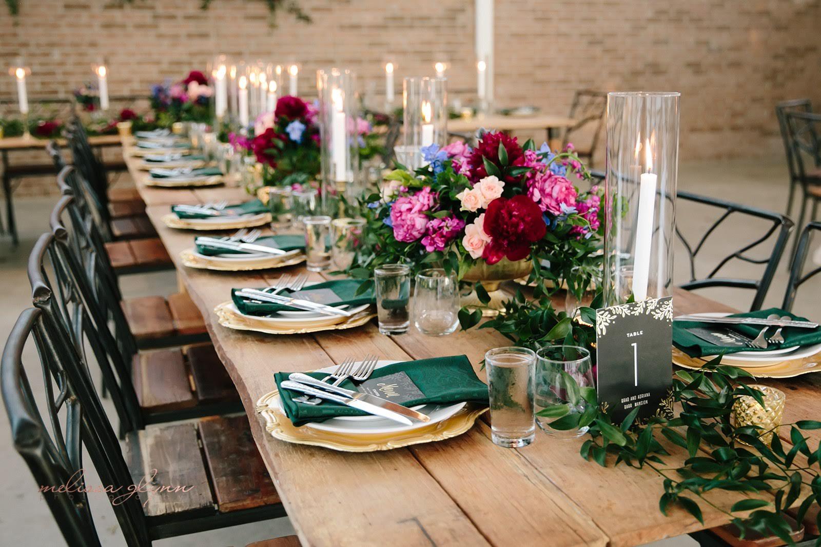 Head table at wedding reception