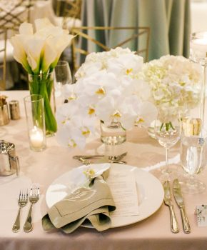 Low, all white mono botanical centerpieces on head table.
