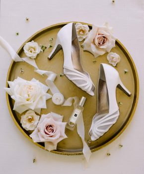 Ivory Oaks fall wedding details of brides shoes